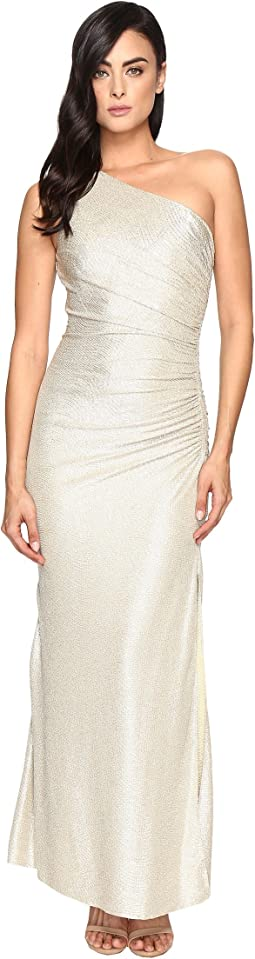 One Shoulder Foil Gown
