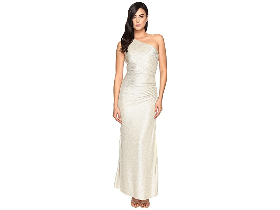 Laundry by Shelli Segal One Shoulder Foil Gown (Gold/Silver) Women