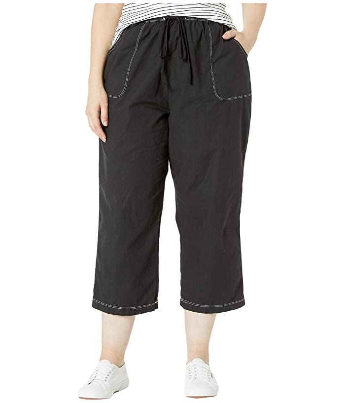 Extra Fresh by Fresh Produce Plus Size Topstitch Sheeting Capris (Black) Women