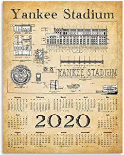 2020 Calendar - Yankee Stadium Blueprints - 11x14 Unframed Calendar Art Print - Great Sports Bar Calendar and Gift for Baseball Fans Under $15