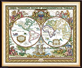 Eafior DIY Cross Stitch Kits Handmade Needlework Embroidery Kits Old world map pattern printed design Home Decoration Wall Decor 51x42cm(No frame)