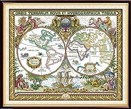 Joy Sunday Cross Stitch Kits Cross-Stitch Pattern Old World Map with DMC Threads Printed Fabric DIY Hand Needlework kit 20''x16.5''