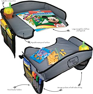 Set of Two Kids Travel Tray for Road Trip Activities/Kids Travel Games Toddler Tray with Travel Busy Bag for Car Seat Airplane Stroller Activities (Two Trays Without Activities)