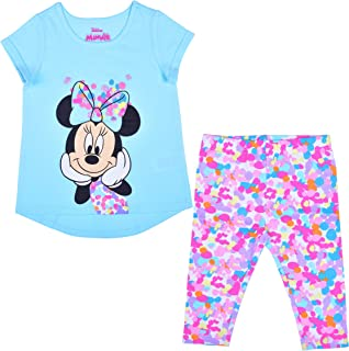 Disney Girl's 2-Pack Minnie Mouse Tee Shirt and Capri Leggings Set for Toddlers