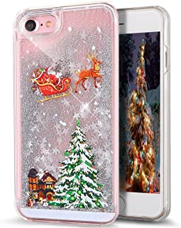 iPhone 5C Case,iPhone 5C Liquid Case,LEECOCO Celebrate Christmas 3D Quicksand Bling Shinny Flowing Liquid Transparent Hard PC Protective Back Case Cover for iPhone 5C Carriage Silver