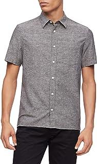 Men's Short Sleeve Lightweight Cotton Linen Button Down Shirt