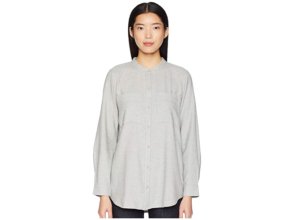 Eileen Fisher Organic Cotton Flannel Twill Mandarin Collar Shirt (Dark Pearl) Women