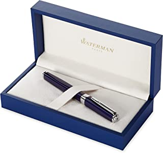 Waterman Exception Fountain Pen, Slim Blue with Silver Plated Clip, Fine Nib with Blue Ink Cartridge, Gift Box