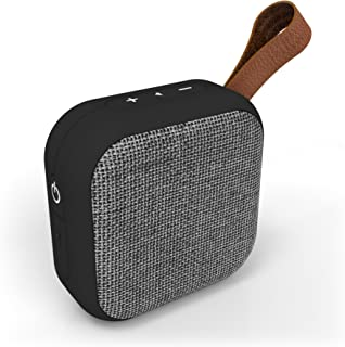 Studio Series Speaker by Tzumi - Square Mini Waterproof Bluetooth Fabric Speaker - Add Powerful Sound and Ambiance to Any Room - Grey
