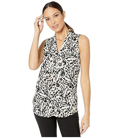 Calvin Klein Inverted Pleat Top (Blush/White) Women