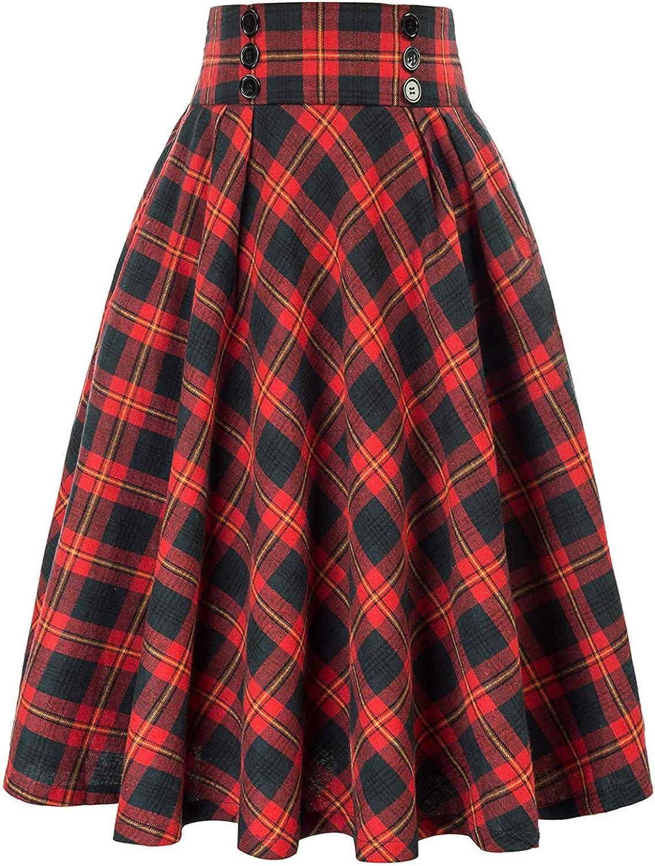 iCODOD Women Plaid Pleated Maxi Skirt A-Line Midi Flared Classic Fashion Vintage Draped Lounge Dress Pretty Button Deco