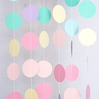 Chloe Elizabeth Circle Dots Paper Party Garland Streamer Backdrop (4-Pack, 10 Feet Per Garland, 40 Feet Total) - Unicorn Pastel
