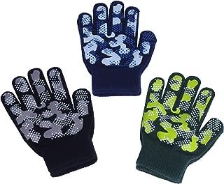 Boys Girls Magic Stretch Gripper Gloves 3 Pair Pack Assortment, Kids One Size Winter Warm Gloves Children