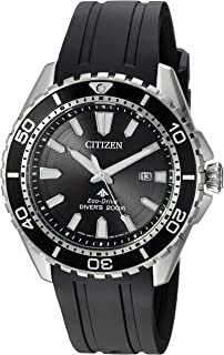 Men's Eco-Drive Stainless Steel Japanese-Quartz Diving Watch with Polyurethane Strap, Black, 22 (Model: BN0190-07E)
