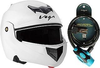 Vega Crux CRX-W-M Flip-up Helmet (White, M) and Vega Safety Cable Lock Dull Black Blue