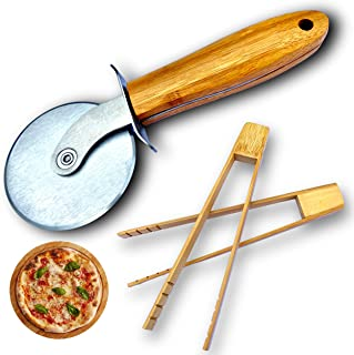 Roulette Pizza et 2 pinces bois bambou, coffret original couteau rouleau acier inoxydable service baguette et coupe pizza ...