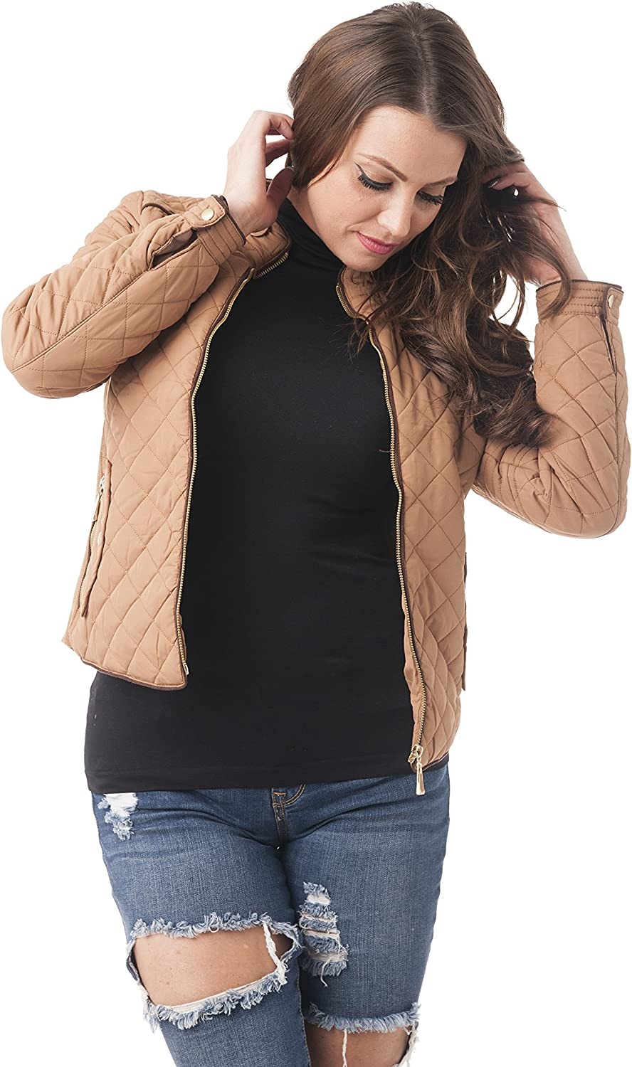 Khanomak Quilted Padding Jacket with Suede Piping Detail