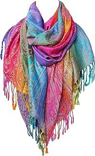 Rainbow Scarf for Women | Colorful Pashmina Scarfs | Real Rave Pashmina Shawls Wraps Lightweight - Aasma's Dream