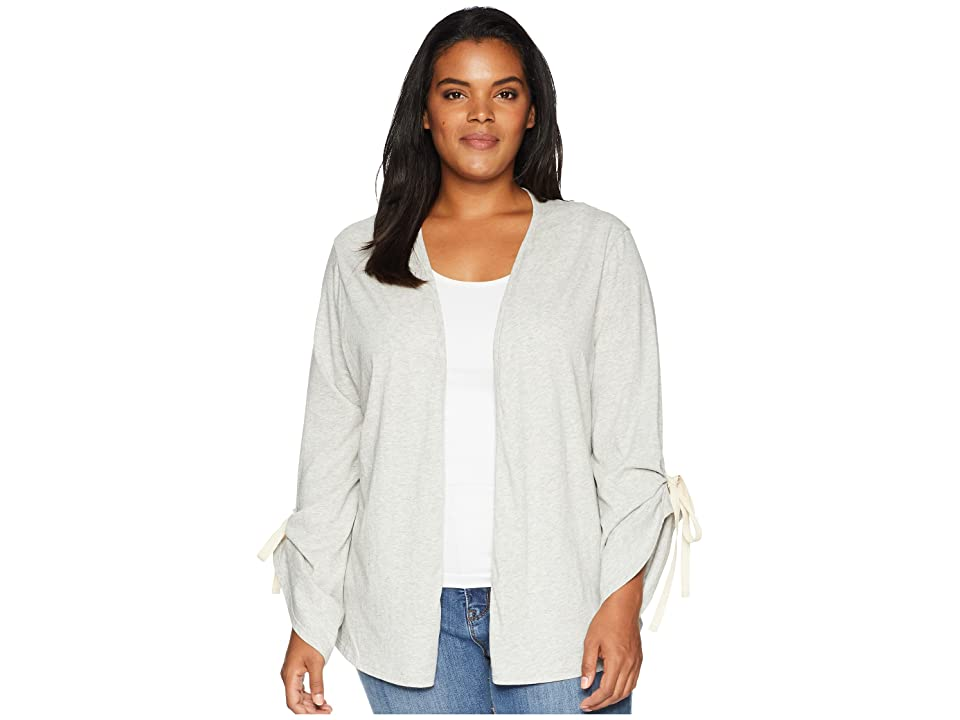 B Collection by Bobeau Plus Size Nia Ruched Sleeve Knit Cardigan (Heather Grey) Women
