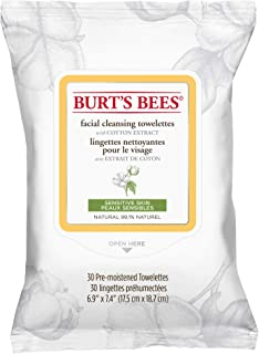 Burt's Bees 99.1% Natural Facial Cleansing Towelettes, Face Wipes for Sensitive Skin with Cotton Extract, 30 Count