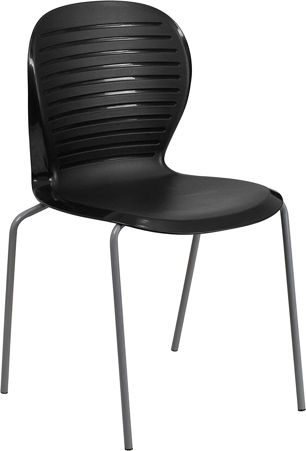 Flash Furniture 551-Pound Hercules Series Stack Chair, Solid, Black