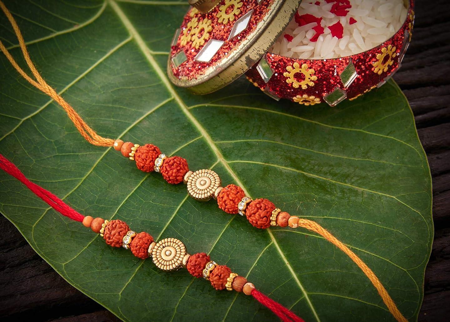 Set of 2 Rakhi for Brother with Rudraksh Beads Designer Rakhis on Rakshabandhan (with Shipping Benefits)