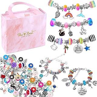 Bracelet Making Kit for Girls,85PCs Charm Bracelets Kit with Beads, Jewelry Charms, Bracelets for DIY Craft, Jewelry Gift ...