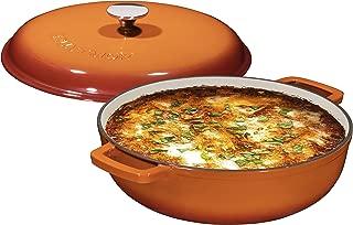 Enameled 4.5 Quart Cast Iron Casserole Dish Dutch Oven Marmite Pot Super Heat Retention Gradient Pumpkin Spice (144oz.)