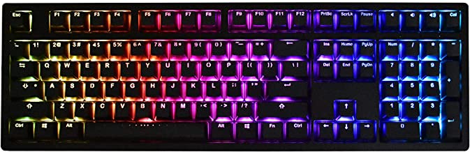 iKBC MF108 v2 RGB LED Backlit Mechanical Keyboard with Cherry MX Brown Switch for Windows and Mac, Full Size Computer Keyboards with PBT Doubleshot Keycaps, CNC Aluminum Black Case, ANSI/US