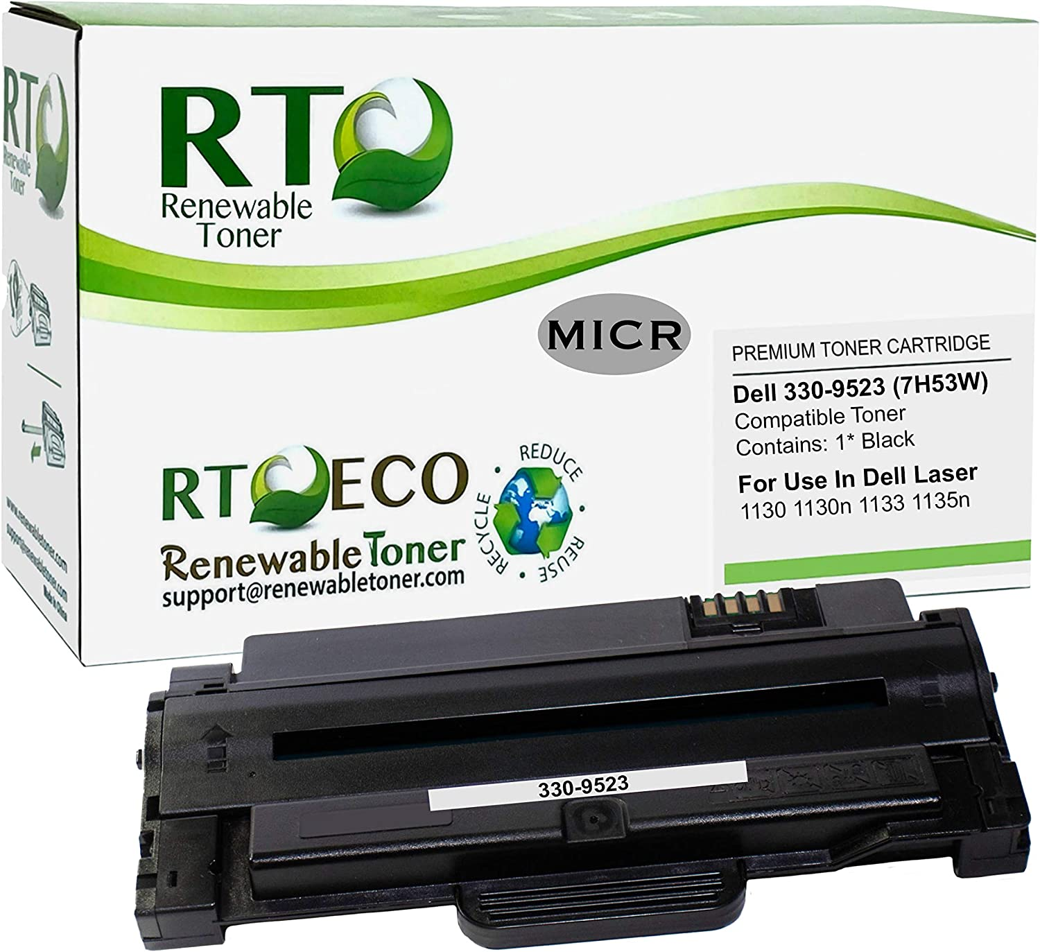 Renewable Toner Compatible MICR Toner Cartridge Replacement for Dell 330-9523 7H53W Laser 1130 1130n 1133 1135n