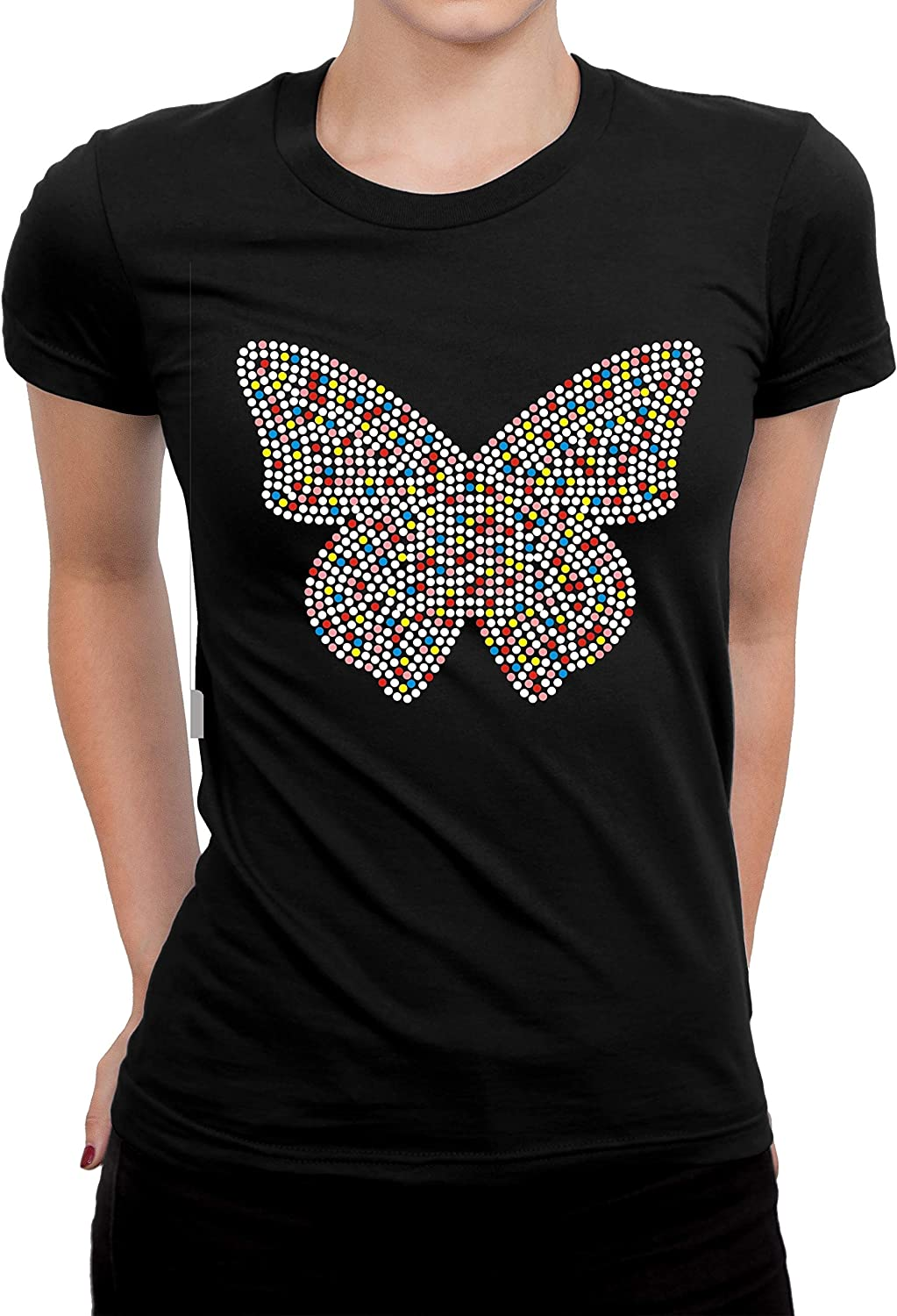 Butterfly Rhinestones Bling Shirts, Black color