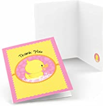 Big Dot of Happiness Pink Ducky Duck - Girl Baby Shower or Birthday Party Thank You Cards (8 Count)