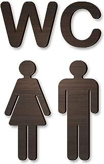 Wood Self-Adhesive WC Brown Sign - Rustic Bathroom Decor - Toilet Door Sign - Antique Style Restroom Sign - Washroom Toilet Bathroom Sign - Loo Sign Door Accessories - Men's Women's Bathroom Sign
