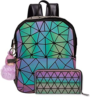 Harlermoon Geometric Holographic Luminous Reflective Purse Large Top-handle Handbags with Zipper Closure Boston Bag for Women