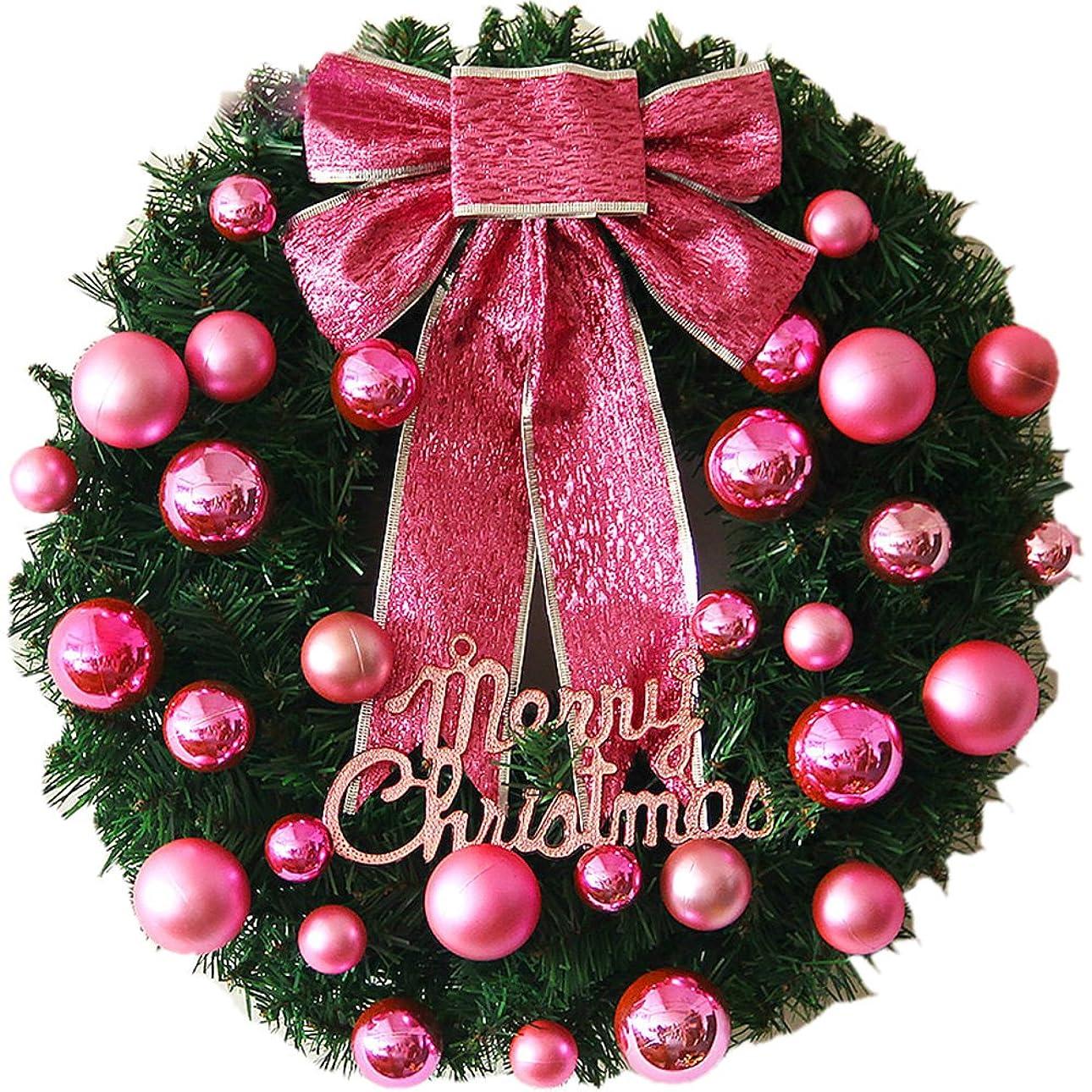 文言扱いやすいディスカウント飾り付け リース 玄関 飾り クリスマスオーナメント リボン ドア 窓 インテリアの飾 宴会 屋内 パーティー (50cm, ピンク)