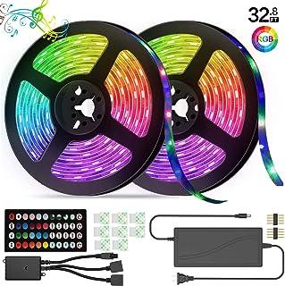 LED Strip Lights, 32.8 feet 5050RGB Color Changing 300 LED with Lights Music Rhythm Sound Control Light Belt Fit for Home Lighting Kitchen Bed bar Home Party DIY Decoration