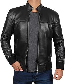Decrum Black Bomber Jacket Men - Real Leather Jackets for Men
