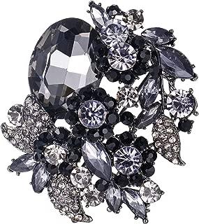 EVER FAITH Rhinestone Crystal Party Flower Leaf Vine Brooch