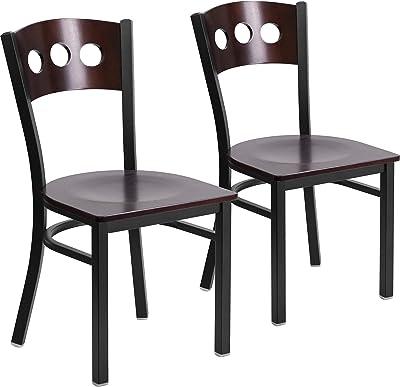 Flash Furniture 2 Pk. HERCULES Series Black 3 Circle Back Metal Restaurant Chair - Walnut Wood Back & Seat