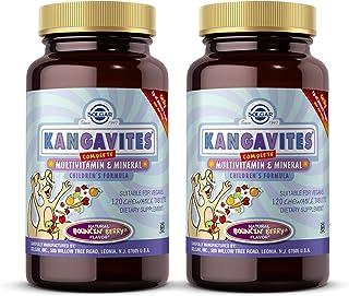 Solgar Kangavites Children's Multi, Bouncin' Berry - 120 Chewable Tablets - Pack of 2 - Great-Tasting Children's Complete ...