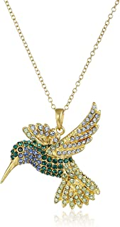 18k Yellow Gold Plated Sterling Silver Green and Blue Hummingbird Pendant Necklace Made with Swarovski Crystal (18