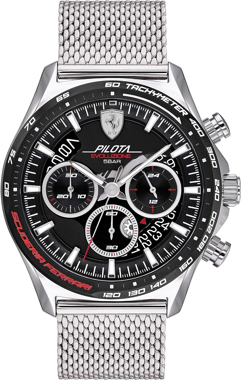 Scuderia Ferrari Reloj Cosa análoga para de los Hombres de Cuarzo con Correa en Acero Inoxidable 830826