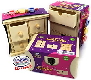 Matty's Toy Stop Design & Paint Your Own Wooden Jewelry Box Set with Mirror Jewelry Box, 3 Drawer Dresser, 4 Drawer Dresser, 3 Brushes & 9 Paints (3 Red, 3 Blue & 3Yellow) Gift Set Bundle - 3 Pack