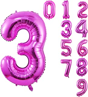 40 Inch Large Pink Balloon Number 3 Balloon Helium Foil Mylar Balloons Party Festival Decorations Birthday Anniversary Party Supplies
