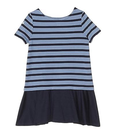 Polo Ralph Lauren Kids Striped Stretch Ponte Dress (Little Kids) (Hunter Navy/Capri Blue) Girl