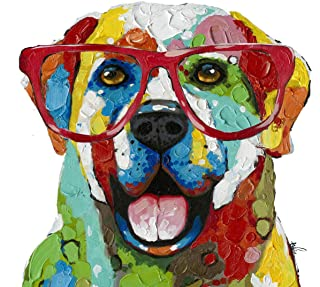 Labrador Colorful Glasses Dog Wall Art Modern Printing On Canvas Painting with Hand Embellished Home Decor 28