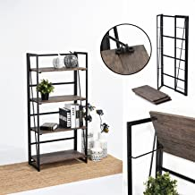 FurnitureR Sin Ensamblaje Estantes Plegables con 4 Repisas Estilo Industrial y Vendimia Elegante Librero Estantes de Almac...