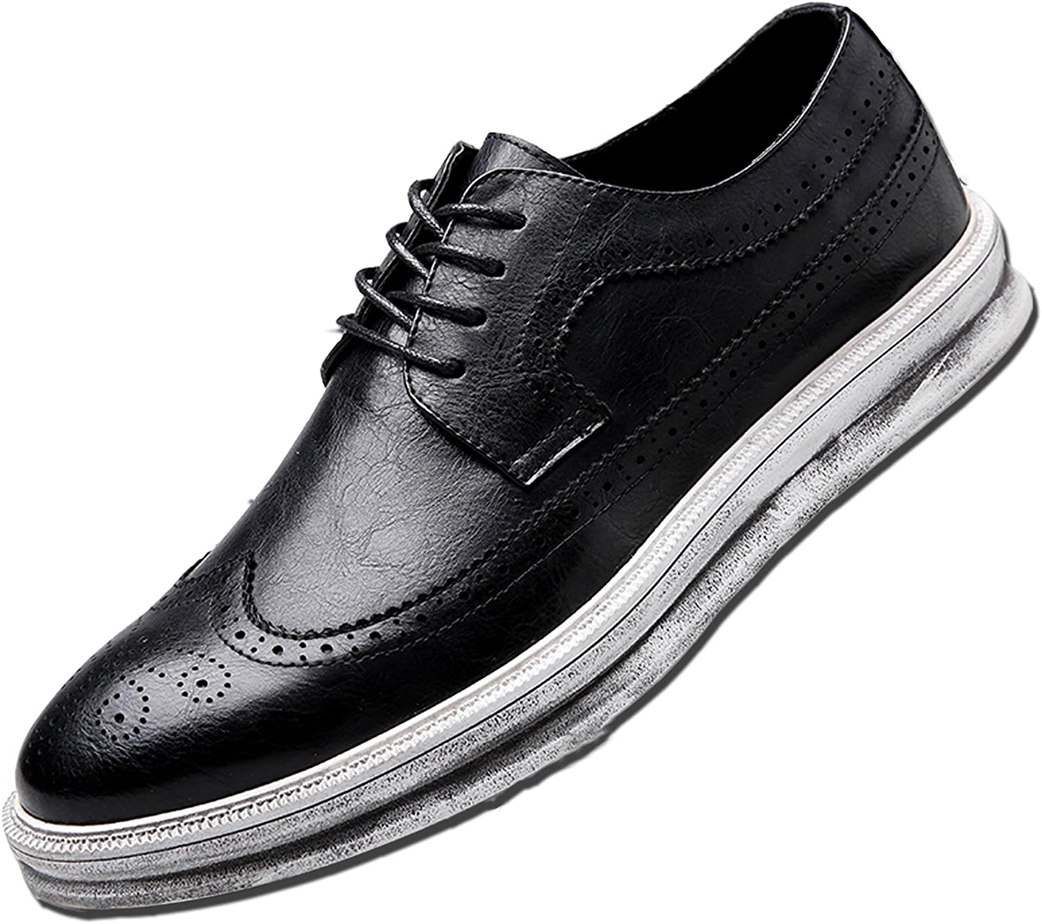 YANXU Mens Casual Fashion Leather Sneaker Wingtip Lace Oxford Dress shoes