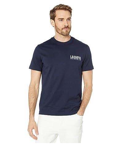 Lacoste Short Sleeve Heavy Jersey 3D T-Shirt Regular (Navy Blue) Men