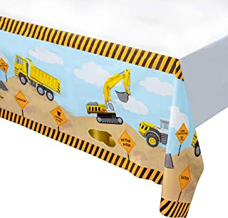 Construction Plastic Tablecloth - 6-Pack Construction Themed 54 x 108 Inch Table Decoration, Fits Up to 8-Foot Long Tables, Birthday Party Supplies, 4.5 x 9 Feet